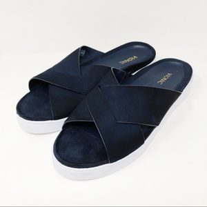 Vionic Lou Blue White Leather Suede Slides Sandals